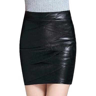 Daytwork Mujeres Cuero Suave Faldas - Damas Negro Ajustado Lápiz ...