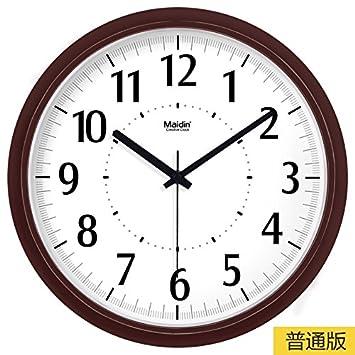 BYLE Silencio de Moda creativa reloj minimalista moderno arte digital dibujo reloj de cuarzo Decoracion Reloj de pared, 13 pulgadas, Basic, -574 marrón: ...
