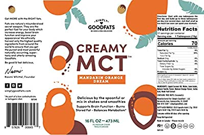 Simply Goodfats Creamy Mct Mandarin Orange Dream, 16 Fluid Ounce