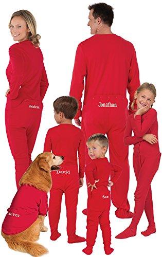 PajamaGram Family Christmas Pajamas Dropseat - Customizable, Red, Men's, MD