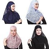 GladThink 4 X Womens Muslim Lace 2 Pieces Hijab Scarf Set No.2