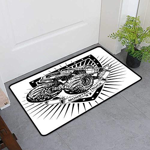 TableCovers&Home Dog-Cat Mat, Modern Decorative Rugs for Kitchen, Munster Truck Logo on Shield Flag Pattern Artisan Speed Sports Hobby Illustration (Black White, H32 x W48) ()