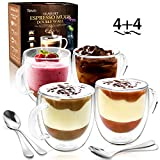 Espresso Cups by Teivio - Double Wall Insulated Coffee Glasses with Handle and Coffee Spoon - 5.1 Ounces Mug, Set of 4