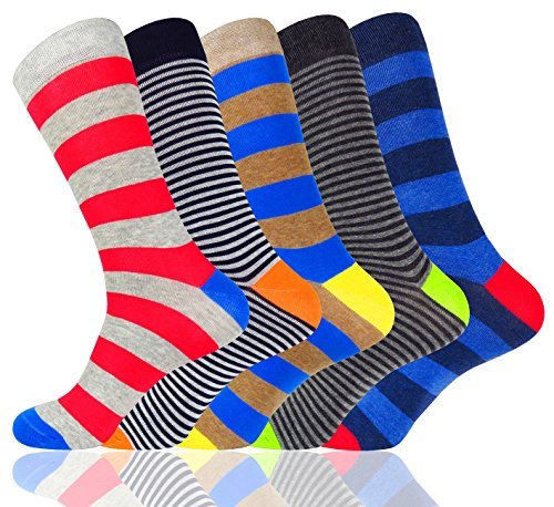 Socks SOCKS WEILAI Cotton Pack Funky Dress Causal Men 5 Crew Stripe Colorful aqdgPq