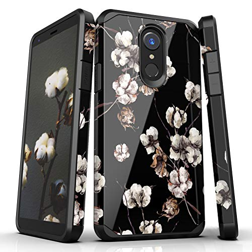 LG Stylo 4/LG Stylo 4 Plus/LG Q Stylus Case,Nicelycase Hybrid Shockproof Drop Protective Impact Rugged Heavy Duty Dual Layer Armor Phone Case Compatible LG Stylo 4(Flowers/Black)