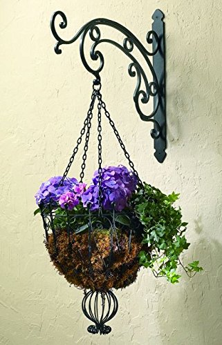 Black Iron Victorian Scroll Hanging Bracket | Wall Mounted Hook Hanger Outdoor by Intelligent Design