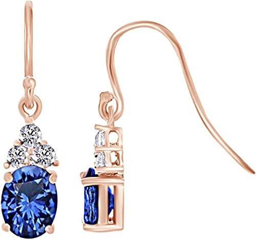 Girls Jewelry 14K Gold Plated Simulated Diamond /& Blue Sapphire Studded Dangle Earrings For Women