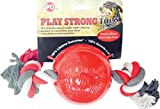 Ethical Pets Ethical Pet Play strong tug Ball with Rope - Small 3.25'', Red