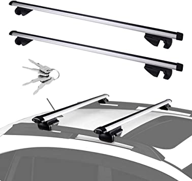 Amazon Com Ledkingdomus Universal Cross Bars Roof Rack Adjustable Crossbars For Maximum 48 Top Side Rails Width Only Compatible For Cars Vehicles Suvs With Raised Side Rails For Cargo Carrier Bike Racks Automotive