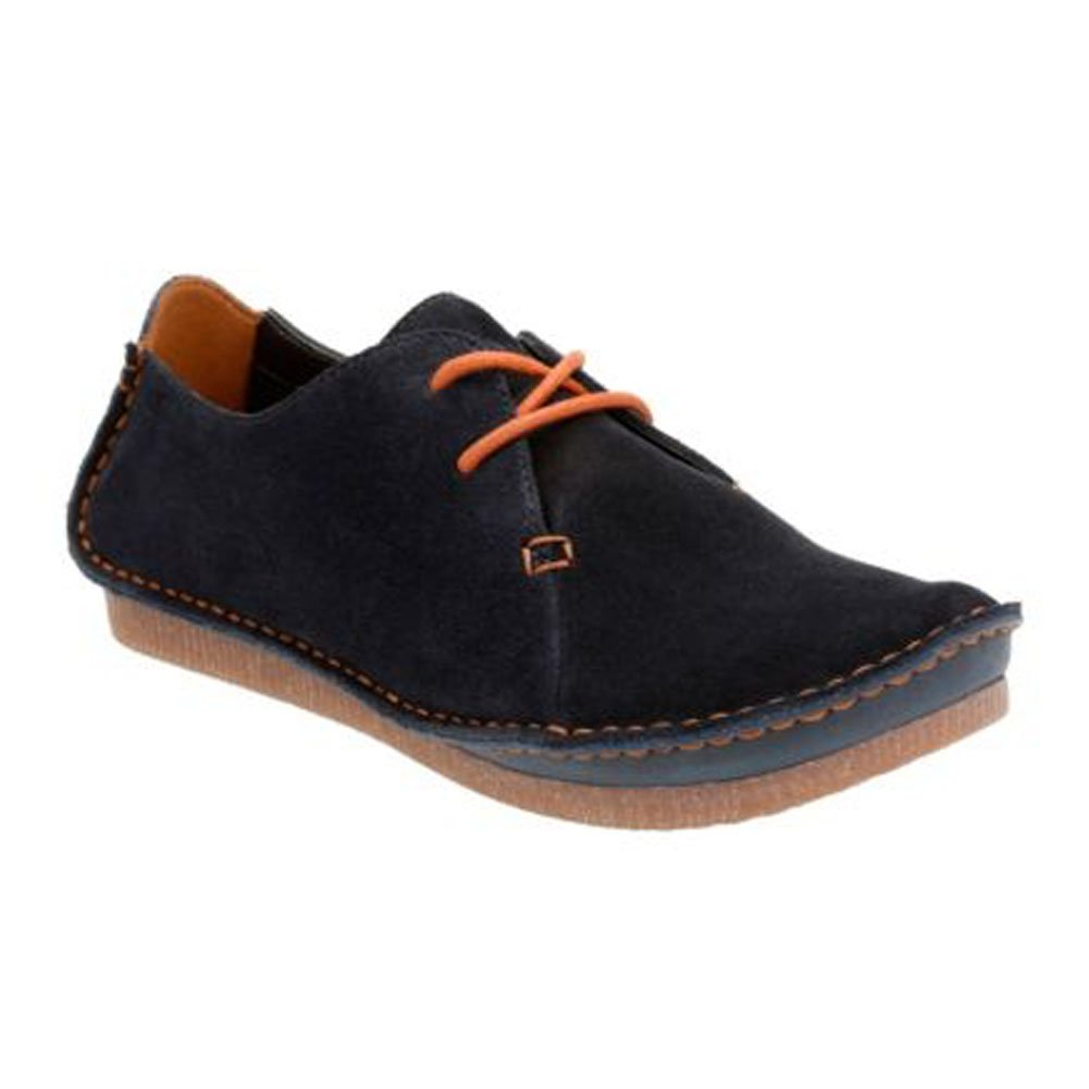Clarks Women's Janey Mae Rubber Oxford, Navy Suede, 9 M US