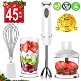 XProject HB-2028 Immersion Powerful 4-in-1 Stainless Hand Blender Stick, Processor, Whisk and Beaker Smoothies Baby Food Yogurt Sauces Soups, White, Mixer