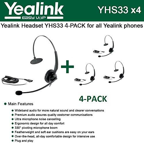Bundle of 4 Yealink YHS33 Wideband Headset for Yealink IP P