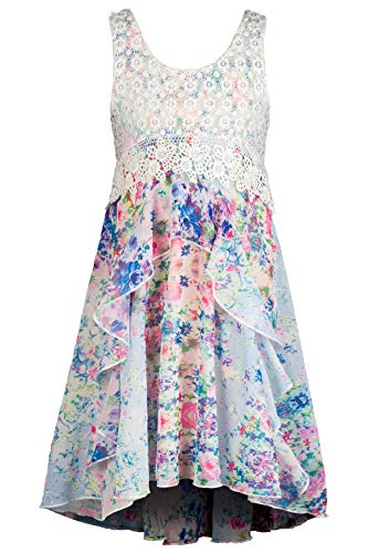 Truly Me, Big Girls' Sleeveless Empire Waist Printed Maxi Dress with Lace Overlay, Size 7-16 (Ivory Multi, 16) -
