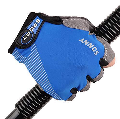 MoAndy Summer Thin Sports Gloves for Men Women Gym Riding Motocycle Half Finger-Blue Medium