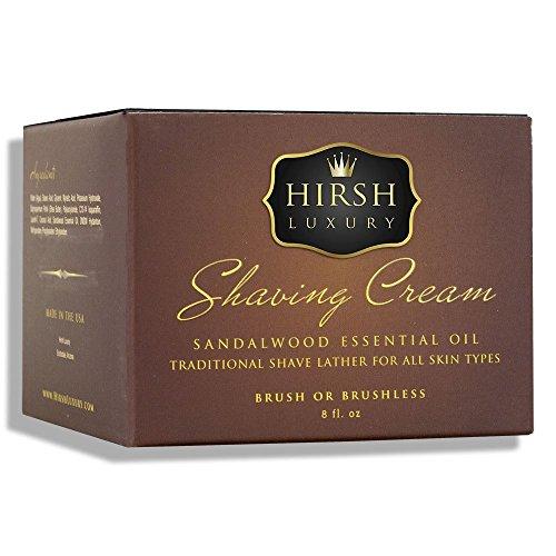 (Hirsh Luxury Shaving Cream Sandalwood Essential Oil 8oz)