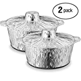 Propack Aluminum Disposable Pots With Lids Small 3.5 Quarts Pack of 6 Disposable Aluminum pots