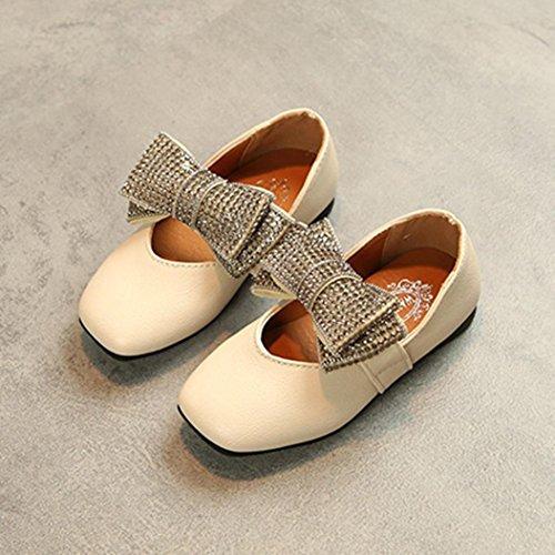 IGEMY Kristall Schuhe für kleine Mädchen, Kinder Kid Infant Mädchen Bowknot Solide Leder Prinzessin Schuhe Beige