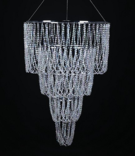FlavorThings 4 Tiered Large Wedding Chandelier,Faux Crystal Iridescent Beaded Swag Chandelier, 24