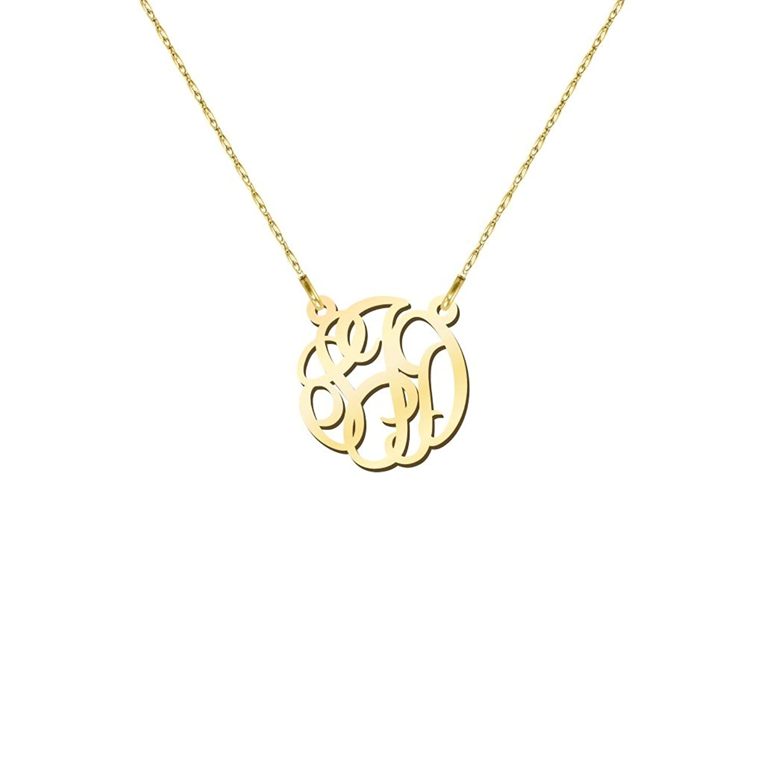 10K Gold Petite Personalized Monogram Pendant by JEWLR
