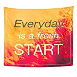 Emvency Tapestry Wall Hanging Inspiration Quote Everyday is Fresh Start on Vintage of Field in Sunlight Polyester Fabric Home Decor for Living Room Bedroom Dorm 50x60 Inches