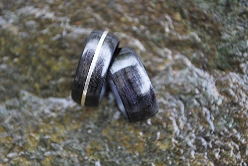 Sterling Silver Bentwood Ring Black Birchwood Pairing (Birchwood Ring)