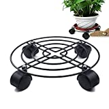 GZQ 10'' Plant Caddy With Wheels Heavy Duty Round Flower Pot Rack Plant Stand Mover Trolley Casters Rolling Tray Indoor Outdoor Home Garden Tools