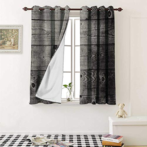 shenglv Dark Grey Drapes for Living Room Ombre Style Grunge Wooden Planks Rustic Timber Oak Wall Rough Texture Image Curtains Kitchen Window W96 x L72 Inch Black Pale Grey ()