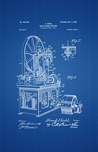 Framable Patent Art Original Ready to Frame Décor This Old House Bandsaw Woodworking 11in by 17in Poster Print Blueprint PAPSSP52B from Framable Patent Art