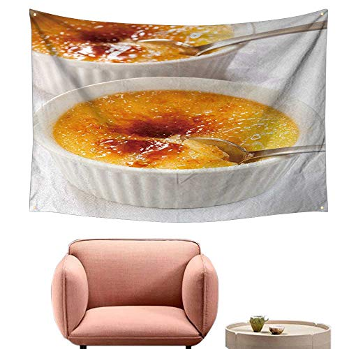 alsohome Wall Decor Tapestry Wall Tapestry for Bedroom Creme Brulee Traditional French Cream Dessert 84