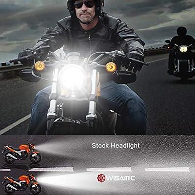 Wisamic 5-3/4 5.75 inch LED Headlight - Compatible with Harley Davidson Dyna Street Bob Super Wide Glide Low Rider Night Rod Train Softail Deuce Custom Sportster Iron 883-Black: Automotive