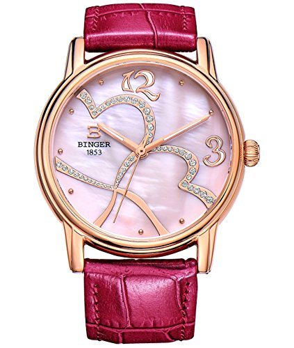 BINGER Women's Mother Pearl Dress Watch Rose Gold Tone With Sapphire Crystal Red Calfskin Leather Strap