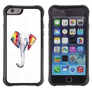 WAWU Funda Carcasa Bumper con Absorci??e Impactos y Anti-Ara??s Espalda Slim Rugged Armor -- elephant colorful minimalist white -- Apple Iphone 6 PLUS 5.5