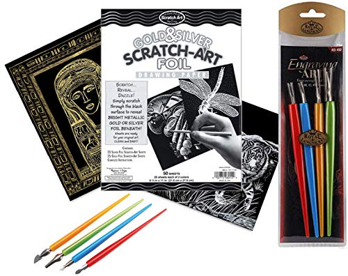 Dazzle Reveal Scratch Art Drawing Gold & Silver Foil Paper 50 Pack + Metal Scratching Tools Sketching Fun Kit Includes Stylus Classroom Activity Project Pack