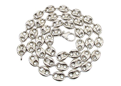 .925 Sterling Silver Mens Puff Mariner/Marina Chain Necklace - Puff Anchpr chain-18