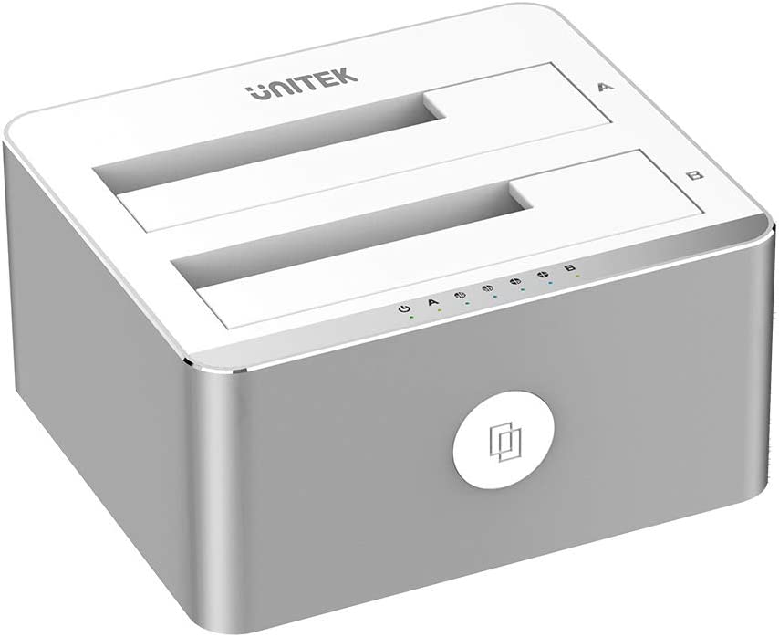 Unitek Aluminum USB 3.0 to SATA Dual Bay External Hard Drive Docking Station with UASP for 2.5 / 3.5-inch HDD SSD, Hard Drive Duplicator/Offline Clone Function (2 x 16TB Support)-Silver