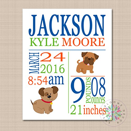 Bow Wow Birthday - Puppy Birth Print Puppy Nursery Wall Art Birth Announcement Bow Wow Buddies 8X10 UNFRAMED PRINT(NOT CANVAS)