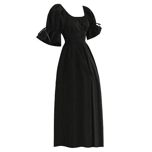 4301f7e2d3a1d Amazon.com: Women Medieval Dress Costume Lace Up Vintage Mythic ...