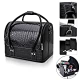 Professional Makeup Train Case, FLYMEI Large Space Make Up Artist Box Beauty Case Nail Polish Cosmetic Storage with Removable Tray Shoulder Strap (Black)