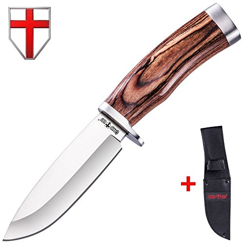 Hunting Survival Fixed Blade Knife - Tactical Bushcraft Knife with Wood Handle for Hiking and Fishing - Dependable Bowie Big Blade Knife for Defense - Grand Way 148109 - - Marine Knife Raider