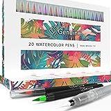 Genuine Crafts Watercolor Brush Tip Pen Set - 20 Premium Assorted Colors Real