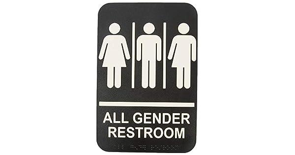 Amazon.com: ADA, letrero adhesivo para baño con braille para ...