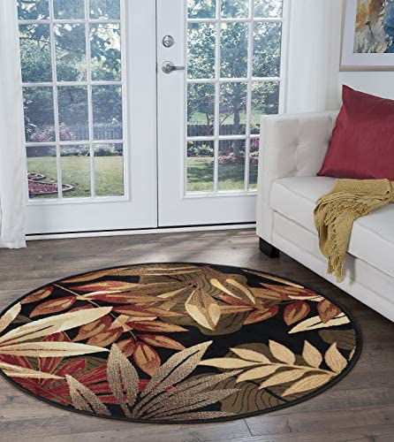 Tayse Pomona Black 8 Foot Round Area Rug