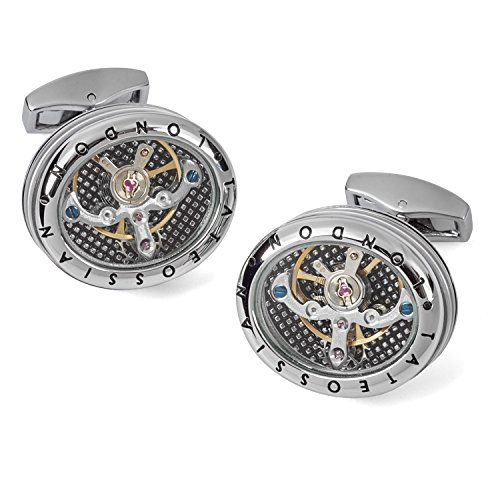 Movement Silver Watch Cufflinks - Tateossian Mechanical Panorama Tourbillon Watch Movement Cufflinks - Rhodium Silver