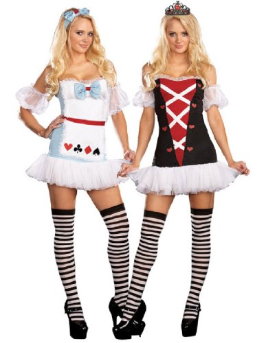 Dreamgirl Women's Reversible Alice In Wonderland/Queen Of Hearts Costume, Wht/Blk/Red, X-Small (Red Alice In Wonderland Dress)