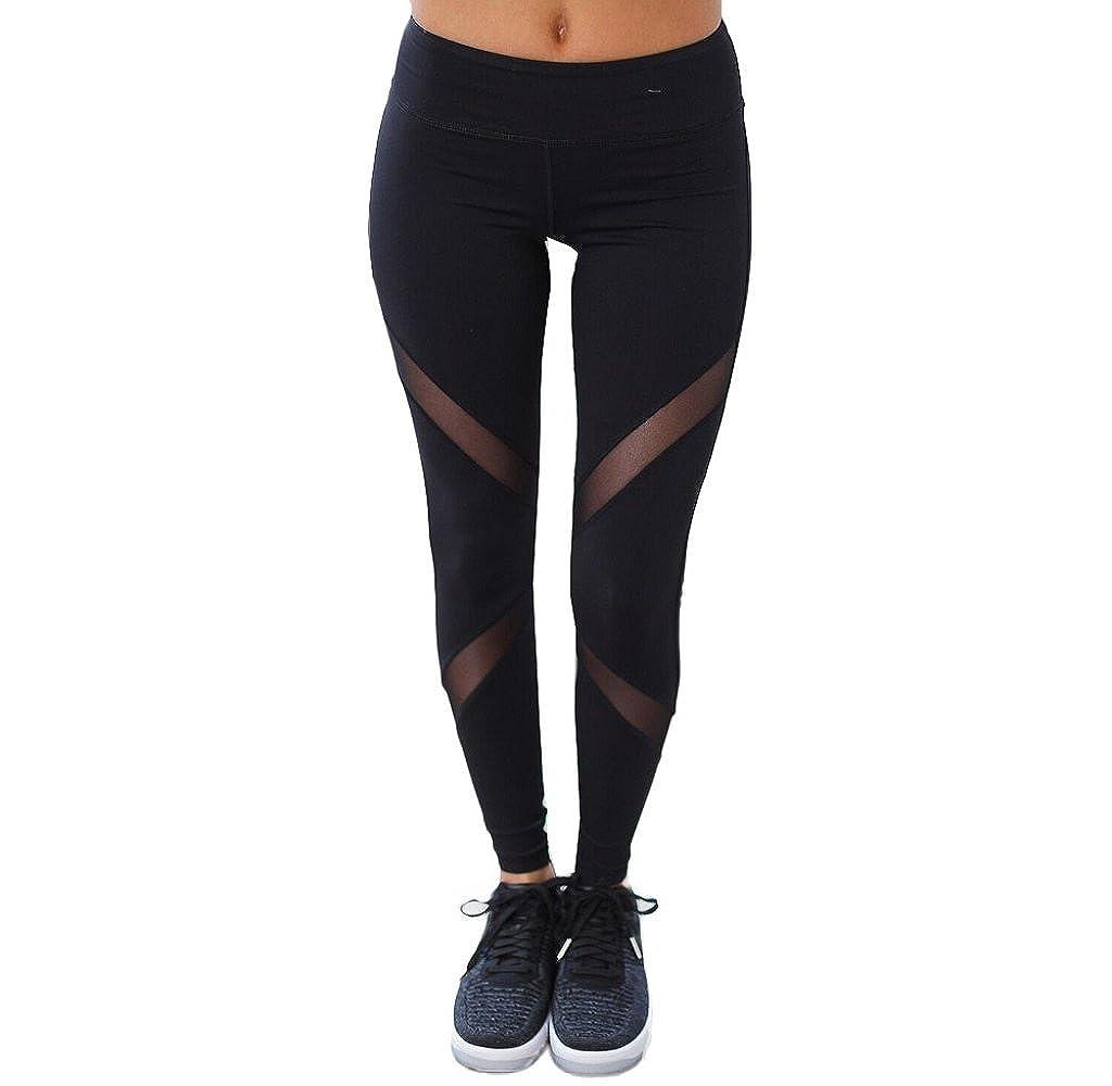 Mapletop Women Yoga Jogging Leggings Patchwork Mesh Push Up Yoga Pants 123