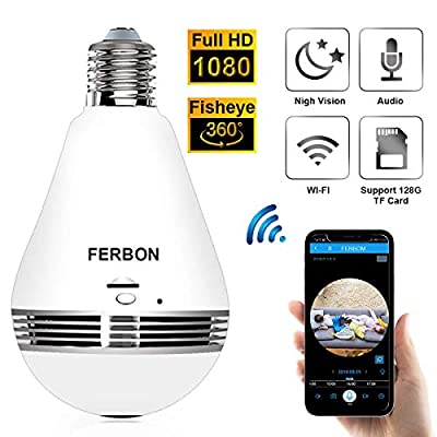 Jbonest 1080P Light Bulb Camera WiFi Panoramic IP Security Surveillance System with IR Motion Detection, Night Vision, Two-Way Audio for Home, Office