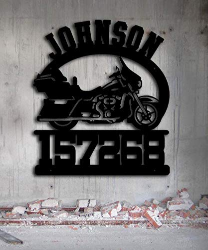- Motorcycle - Road Bike -23x26 Inches Tall Custom - Personalized Metal Address Sign - Outdoor Metal Art - Handmade USA Gift