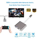 SENDOW Nintendo Switch HDMI Adapter,Type C to HDMI Multiport Converter 3-in-1 with USB 3.0 Port & USB C Charging Port for Macbook Chromebook Pixel and other TypeC devices