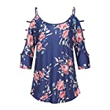 UONQD Woman blouses womens shirts m and s ladies floral long sleeve grey tops blue short evening chiffon shirt online light collar uk navy casual women's female(Medium,Blue)