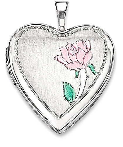 ICE CARATS 925 Sterling Silver 20mm Enameled Flower Heart Photo Pendant Charm Locket Chain Necklace That Holds Pictures Fine Jewelry Gift Set For Women (Enameled Locket)